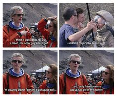 "Behind-the-scenes extra from Doctor Who Series 8 - ""Kill the Moon"" Peter's line about the hair gel is hilarious!"