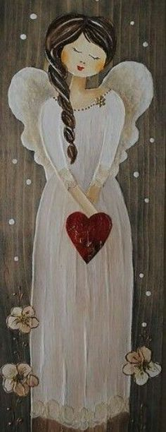 for you may have found an angel. Christmas Angels, Christmas Art, I Believe In Angels, Angel Crafts, Christmas Paintings, Angel Art, Painting Inspiration, Painted Rocks, Painting & Drawing