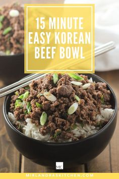 Want to make a meal your family will ask for over and over and over? Try this super easy and healthy 15 minute beef bowl! Kids and adults love this easy sweet and savory Asian dish. It is also great for meal prep. Easy Asian Recipes, Easy Chicken Recipes, Easy Dinner Recipes, Gf Recipes, Cooking Recipes, Ketogenic Recipes, Delicious Recipes, Free Recipes, Korean Beef Bowl