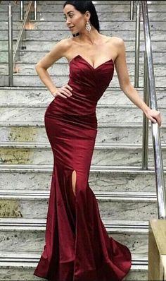 Mermaid sweetheart Prom Dress,Burgundy prom dress,long prom dress,side