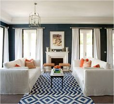Material Girls | Interior Design Blogs | Decorating & Home Décor » indigo, white and orange living room