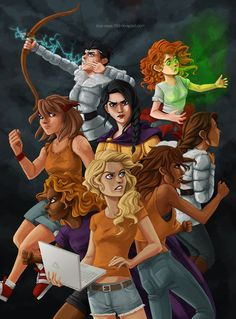 The PJO/HoO girls. Left to right, top to bottom: Thalia Grace, Rachel Dare, Clarisse La Rue, Reyna Ramirez-Arellano, Zoë Nightshade (or Bianca diAngelo, I can't tell), Hazel Levesque, Annabeth Chase and Piper McLean.