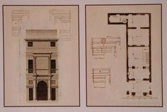 Andrea Palladio (attributed): Casa Cogollo, also called 'Palladio's house', 1559-1562, Vicenza, Italy; elevation and plan by Bertotti Scamozzi, 1776