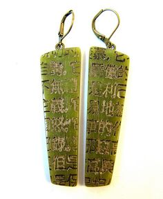 Faux Jade Asian Kanji Earrings by DivaDesigns1, via Flickr.