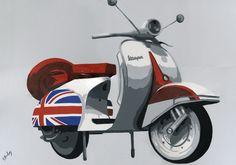 "090SB029 - Iconic Vespa 4 - 16"" x 12"" Print Only £12.99 9.5"" x 6.5"" Mounted to 14"" x 11"" - £12.99"