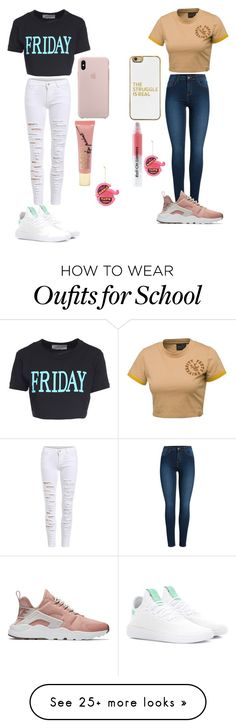 """""""Hanging out with best friend in school """" by hannarules37 on Polyvore featuring Alberta Ferretti, adidas Originals, Puma, Pieces, NIKE, BaubleBar, Forever 21 and Kurt Adler"""