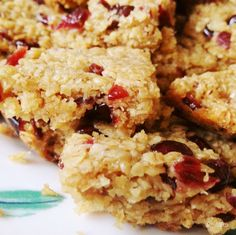 Proper soft, chewy shop-like flapjacks - with cranberries too!