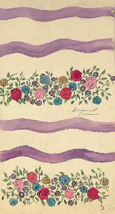 Raoul Dufy, Design no. 596, bands of delicate flowers interspersed with undulating stripes, in pencil and watercolour on paper, with pencil manuscript inscription