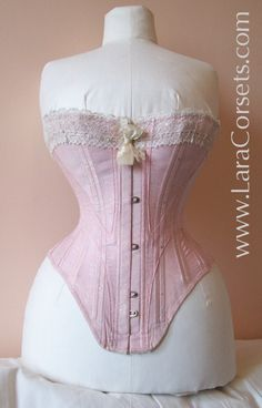 155c6a8147 Early Edwardian corset. Once had garters attached at the lower front Pink  Corset