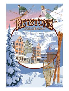Keystone Colorado Montage - Art Deco Ski Ad in vintage style