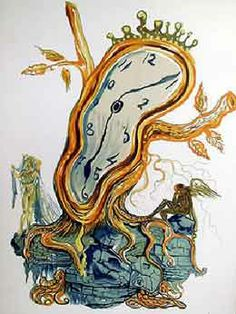 "Dali's ""Stillness of Time""- ""Stillness of Time"", created in 1979, depicts a gold-rimmed clock with a rather fluid appearance. The clock seems to be wearing a crown; interestingly it looks as though the clock also has tree roots and a couple of bare branches."
