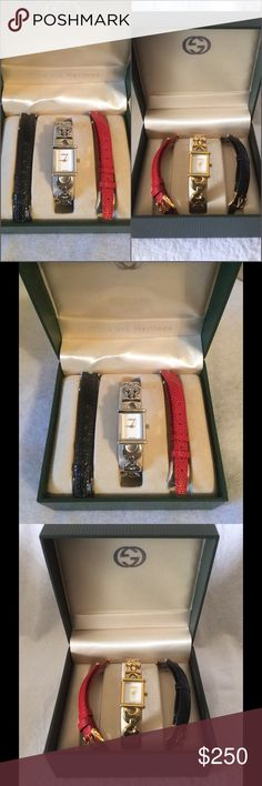 "3 in 1 Gucci Watch Pick your choice either Gold or Silver. This is like new. Well loved. Fits 6.5"" wrist. Price to sell Firm. Gucci Accessories Watches"