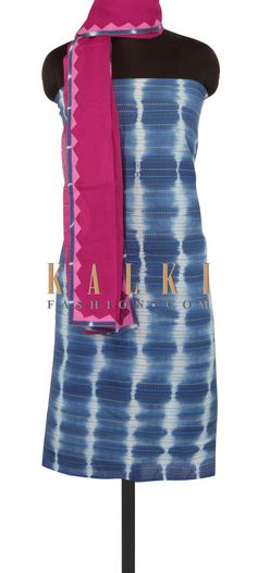 Cream and indigo printed unstitched suit only on Kalki