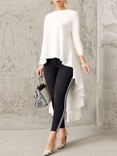 blusas Women Long Sleeve Crew Neck High Low Hem Solid Blouse Women's Clothing from Clothing and Apparel on Look Fashion, Hijab Fashion, Fashion Outfits, Womens Fashion, Fashion Blouses, Fashion Pants, Fashion Tips, Blouse Styles, Blouse Designs