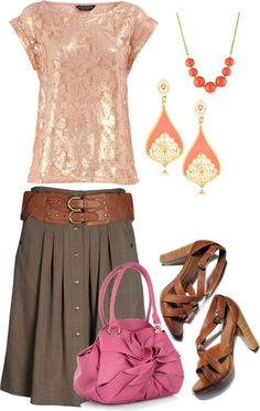 Pink Top and Brown Skirt, created by wherecoconutgrows on Polyvore