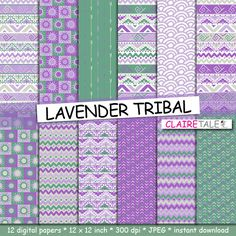 """Tribal digital paper: """"LAVENDER TRIBAL"""" with tribal patterns and tribal backgrounds, arrows, feathers, chevrons in lavender and green by ClaireTALE on Etsy"""
