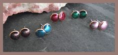 Little Bronze & Sterling Silver Studs with sparkly resin - choose your colour  £10.00
