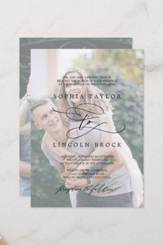 Romantic Calligraphy   Faded Photo Formal Wedding Invite. Click to customize with your picture and personalized details today.