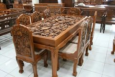 Image may contain: people sitting, table and indoor Unique Wood Furniture, Royal Furniture, Bed Furniture, Furniture Design, Wooden Sofa Set Designs, Wood Design, Wood Bedroom Sets, House Outside Design, Wood Carving Designs