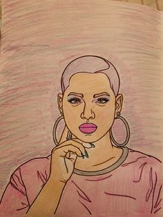Natural Hair Adult Coloring Page from our Natural hair adult coloring book. Natural Hair bald model is wearing a fade or Caesar for women.  Short hair model with pink hair.