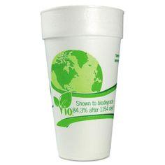 Vio Biodegradable Cups, Foam, 24 Oz, White/green, 300/carton Tags:  Eco Friendly Paper Cup; Cups/Foam/Combos; Eco Friendly Paper Cup; https://www.ktsupply.com/products/33473399367/Vio-Biodegradable-Cupscomma-Foamcomma-24-Ozcomma-Whitegreencomma-300carton.html