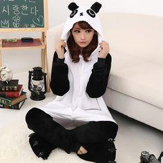 Thicken Fluffy Animal Cute Panda Hooded Velvet Autumn and Winter Onesies Pajamas Kigurumi Adult Sleepwear $44.00  #Lovejoynet #Animal #Sleepwear