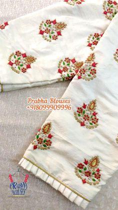 Hand Work Design, Hand Work Blouse Design, Stylish Blouse Design, White Blouse Designs, Traditional Blouse Designs, Hand Work Embroidery, Embroidery Suits, Latest Embroidery Designs, Maggam Work Designs