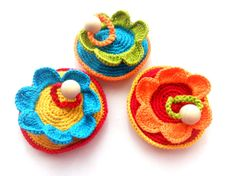 Organic crocheted teething toy Flower rattle by bboutiquebeauties, $15.00