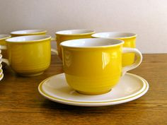Vintage Mikasa Everfresh Yellow Cups and Saucers Set of 7