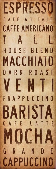 Coffee House typography graphic art canvas piece 8 x 24 x 1.5 by gemini studio. $95.00, via Etsy.