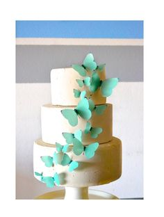 Edible Butterflies Tiffany Blue -  set of 15 - Cake & Cupcake Toppers - Food Decoration Wedding Cake Decoration on Etsy, $12.50