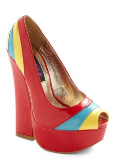 Car Show Stopper Heel - Red, Multi, Yellow, Blue, Color Block, Party