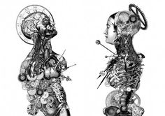 Timenaut: Anatomical collage grotesqueries illustration by Dan Hiller