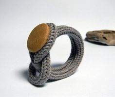 Knot bracelet wool  bracelet. Knitted jewelry. Taupe by ylleanna, €20.00