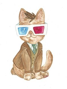 Watercolor of a Cat from Doctor Who David Tennant by TheArtofMeg,