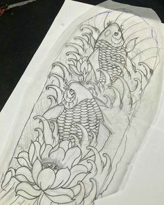 Japanese Koi Fish Tattoo, Koi Fish Drawing, Japanese Dragon Tattoos, Japanese Tattoo Designs, Fish Drawings, Koi Art, Fish Art, Koi Dragon Tattoo, Hannya Mask Tattoo