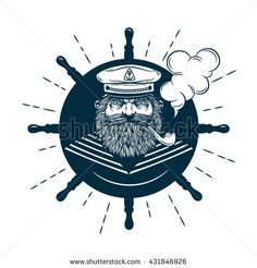 Monochrome nautical marine image and logos of captain with helm on background isolated vector illustration Sailor Logo, Sailor Illustration, Nautical Marine, Bar Logo, Craft Markets, Monochrom, Pictures To Draw, Mosaic Art, Illustrations
