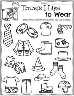 Looking for fun All About Me Activities for kids? Check out these 16 Hands-On All About me Learning Activities and Crafts for Preschool or Kindergarten. All About Me Preschool Worksheets - Things I like to Wear. All About Me Crafts, All About Me Activities, Preschool Activities, Vocabulary Activities, All About Me Preschool Theme, Preschool Worksheets, Preschool Classroom, In Kindergarten, Daycare Curriculum