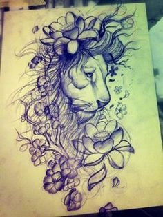 lion, flowers tattoo idea. add some color and its perfect