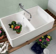 Villeroy & Boch Double Bowl Ceramic Butler Sink with wall spout. Perfect in the kitchen, laundry or bathroom to give that country or industrial look to your renovation