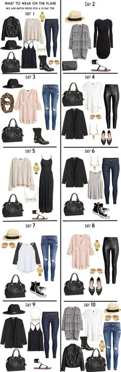 10 day packing list from day to night. 10 Day Outfits Travel Light, packing light. #packinglight #travellight #packinglist