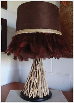 Roped & Feathered - Chocolate suede & feathers, natural jute chord and timber beads.  $85.00 NB - Lamp Stand not included - shade only.