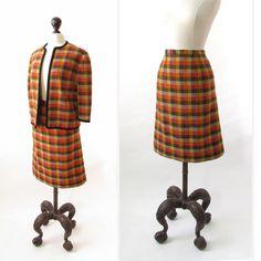 vintage 1960s womens suit  wool tweed block by SteeleHollowVintage