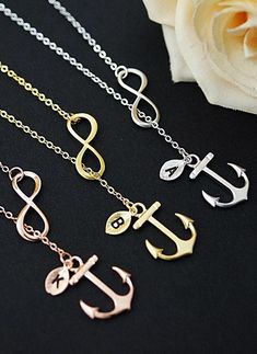 Personalized Infinity and Anchor Necklace from EarringsNation Nautical Weddings Beach Weddings Sailor Anchor