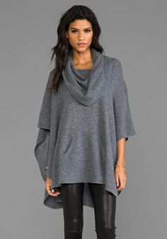 360 Sweater Laurel Cashmere Poncho in Heather Grey