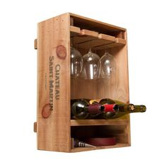 Wooden Wine Crates, Vintage Crates, Crate Bar, Crate Crafts, Wine Glass Holder, Wooden Wine Holder, Wine Storage, Diy Wine Racks, Record Storage