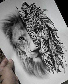 This is beautiful - Tattoo Ideen - tattoos Leo Tattoos, Future Tattoos, Animal Tattoos, Body Art Tattoos, Girl Tattoos, Sleeve Tattoos, Tattoo Hip, Lion Thigh Tattoo, Mandala Lion Tattoo