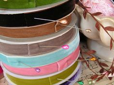 love the pins too. Velvet Ribbon, Becca, Ribbons, Sewing, Leather, Crafts, Beauty, Embellishments, Studios