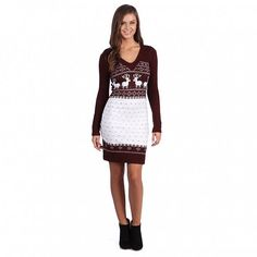 White Mark Women's 'Boston' Maroon White Sweater Dress