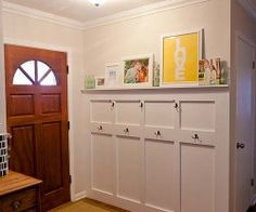 This couple added paneling, coat hooks, and a picture rail to their entryway. It gives the m storage without having a large piece of furniture design office bedrooms interior design de casas Home Renovation, Home Remodeling, Decoration Entree, Young House Love, Board And Batten, My Dream Home, Home Organization, Home Projects, Diy Home Decor